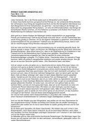 PREDIGT ZUM DREI-KÖNIGSTAG 2012 Text: Mt 2, 1-12 Thema ...