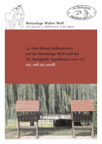 13. Drei-König-Hallenturnier auf der Reitanlage Wolf und der TG ...