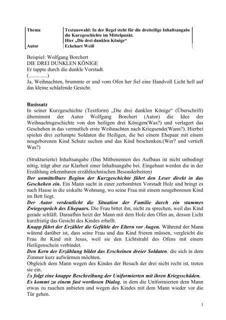 Beispiel Wolfgang Borchert Die Drei Dunklen Könige Er Tappte