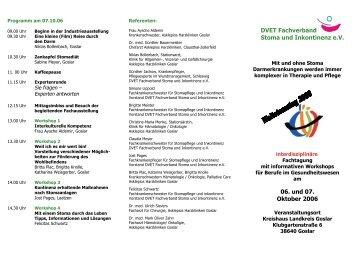 DVET Fachverband Stoma und Inkontinenz e.V. 06. und 07. Oktober ...