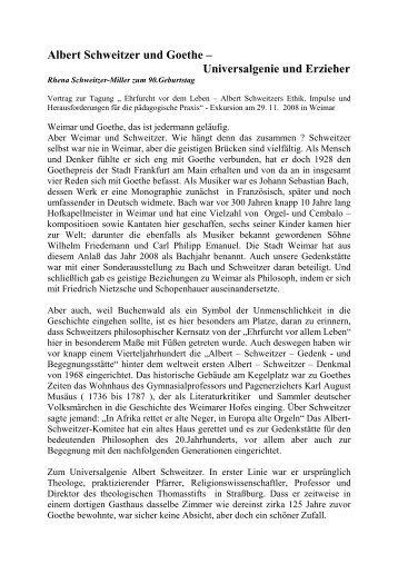 Albert Schweitzer und Goethe – Universalgenie und Erzieher