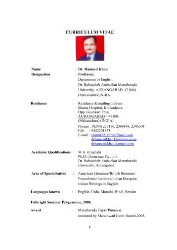 curriculum vitae - Dr.Babasaheb Ambedkar Marathwada University ...