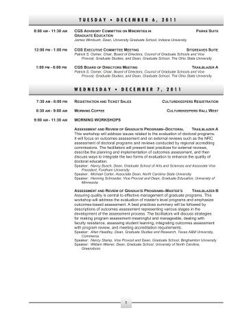 2011 CGS Annual Meeting Program - Council of Graduate Schools