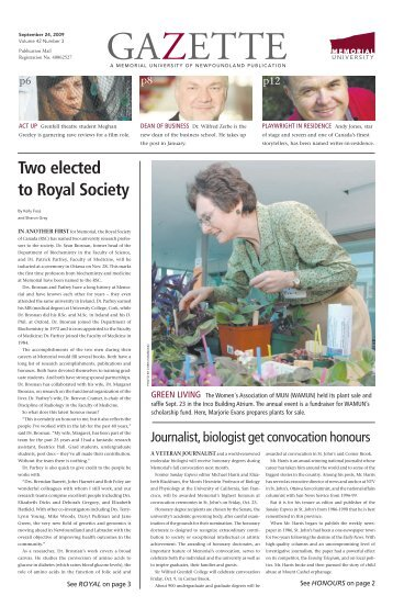 Two elected to Royal Society - Memorial University of Newfoundland