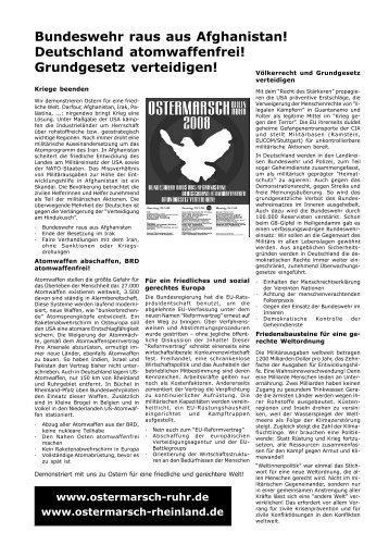 Bundeswehr raus aus Afghanistan! Deutschland ... - Ostermarsch Ruhr