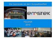 Die Gemeinde mit dem Sympathieeffekt Haushalt 2010 - Emstek
