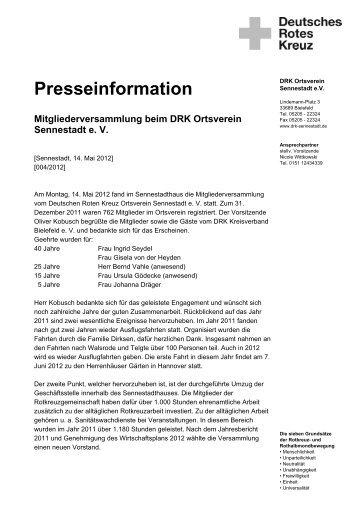 Mitgliederversammlung beim DRK Ortsverein Sennestadt e. V.