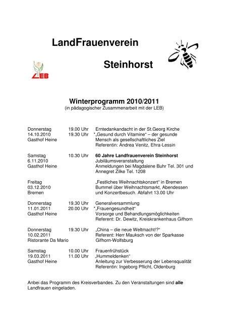 offizieller Laden eine große Auswahl an Modellen detaillierte Bilder Programm 2010-2011 - Kreisverband der LandFrauen Gifhorn ...