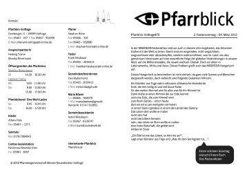 Pfarrblick Voltlage#70 2. Fastensonntag – 04. März 2012 Einen ...