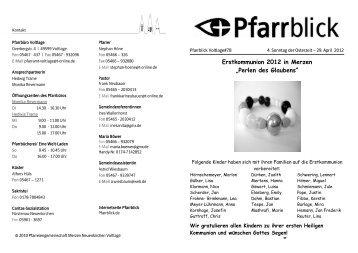 "Erstkommunion 2012 in Merzen ""Perlen des Glaubens"" - Pfarrblick"