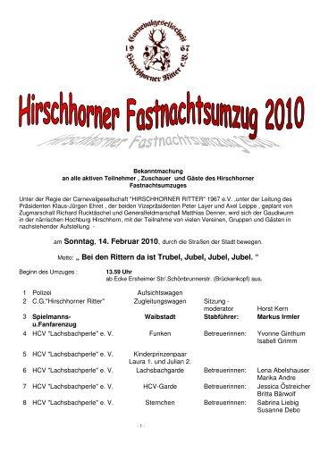 Sonntag, 14. Februar 2010 - Hirschhorner Ritter