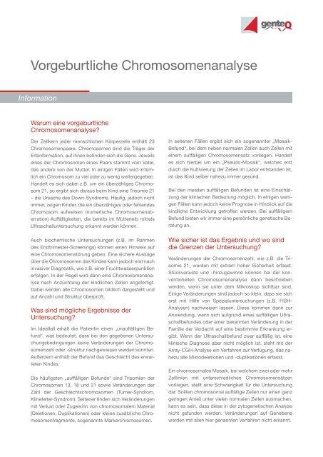Vorgeburtliche Chromosomenanalyse - Endokrinologikum