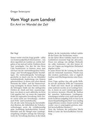 Vom Vogt zum Landrat - Ein Amt im - Landkreis Calw