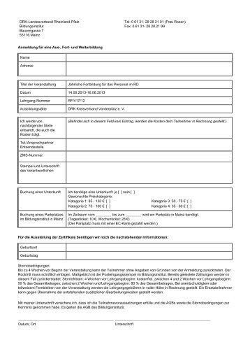 Formular-Buchung (.pdf) - Bildungsinstitut - DRK