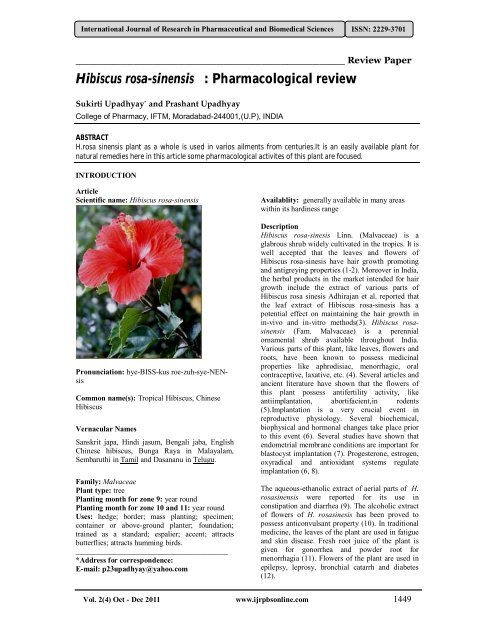 Hibiscus Rosa Sinensis Pharmacological Review International