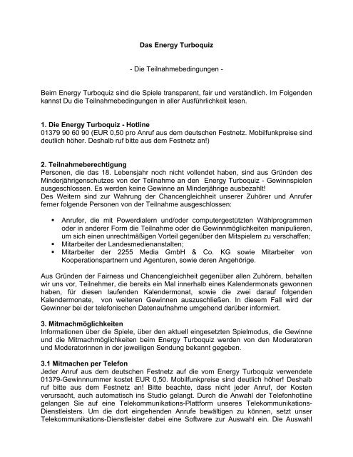 Das Energy Turboquiz - Die Teilnahmebedingungen ... - ENERGY.de