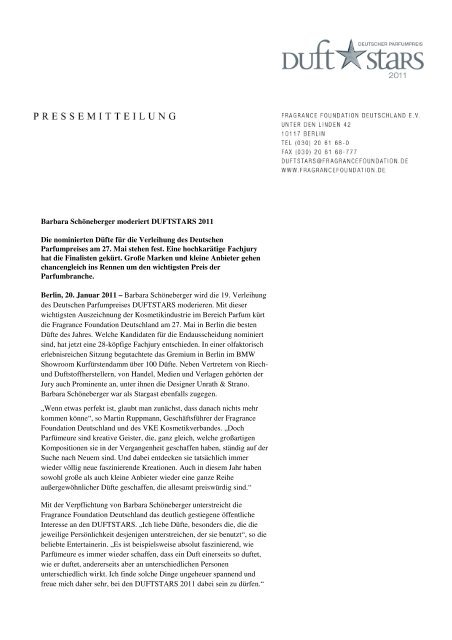 Barbara Schöneberger moderiert DUFTSTARS 2011 ... - ENERGY.de