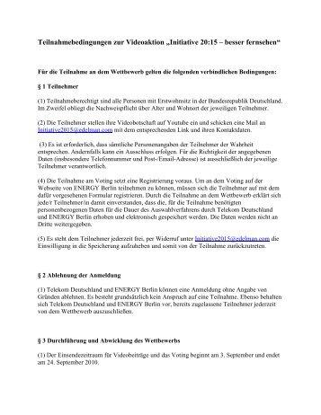 """Teilnahmebedingungen zur Videoaktion """"Initiative 20 ... - ENERGY.de"""