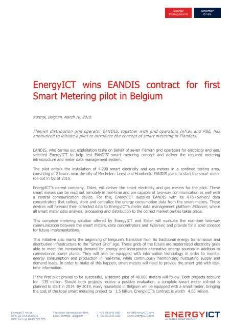 EnergyICT wins EANDIS contract for first Smart Metering