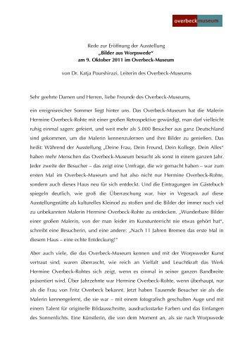 Eröffnungsrede von Dr. Katja Pourshirazi - Overbeck-Museum