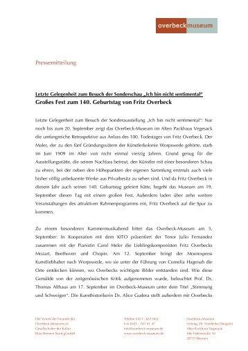 Pressemitteilung Großes Fest zum 140. Geburtstag von Fritz Overbeck