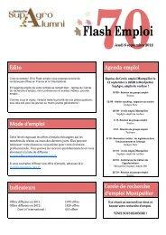 Flash Emploi 70 - Le réseau des diplômés de Montpellier Supagro