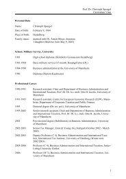 Prof. Dr. Christoph Spengel Curriculum Vitae 1 Personal Data Name ...