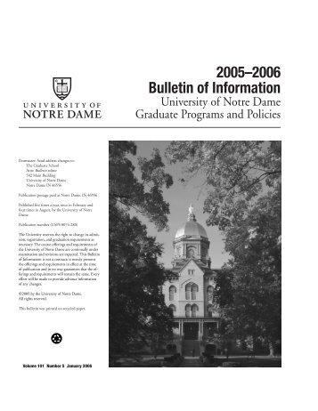 2005–2006 Bulletin of Information - Registrar - University of Notre ...