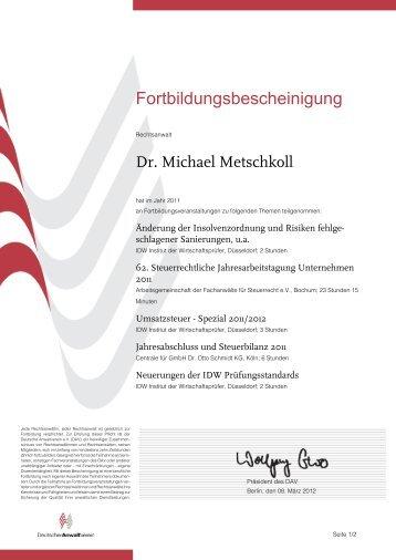 Fortbildungsbescheinigung - Kanzlei Dr. Metschkoll
