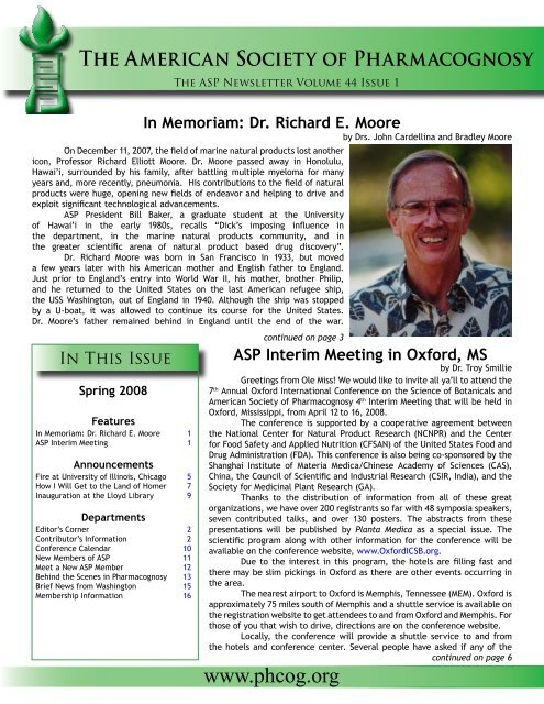 In Memoriam Dr Richard E Moore The American Society Of