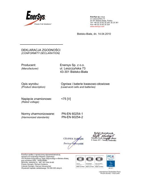 Enersys Sp. z oo ul. Leszczyńska 73 43-301 ... - EnerSys-Hawker