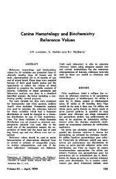 Canine Hematology and Biochemistry Reference Values - Esmond