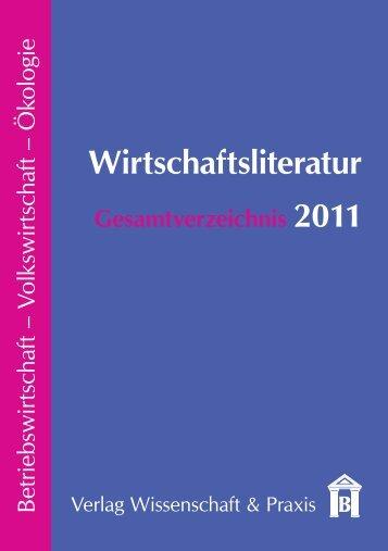 Gesamtverzeichnis 11 mit Bildern.indd - Verlag Wissenschaft & Praxis