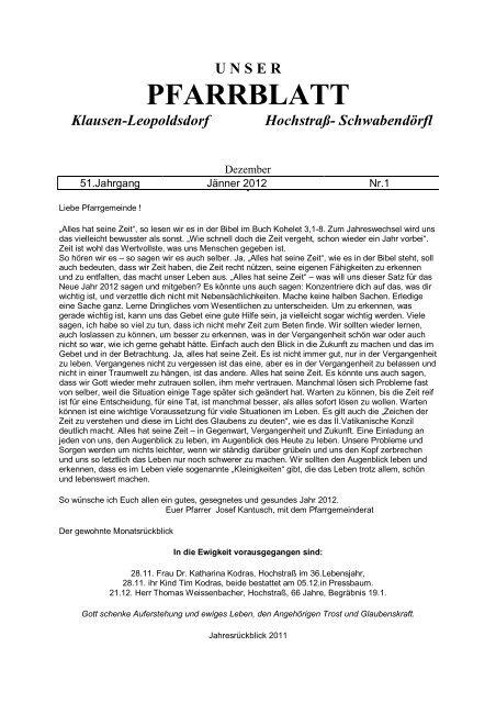 Unser Pfarrblatt Klausen Leopoldsdorf Hochstraß