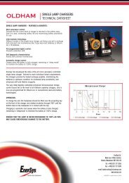 oldham single lamp chargers technical datasheet - EnerSys-Hawker
