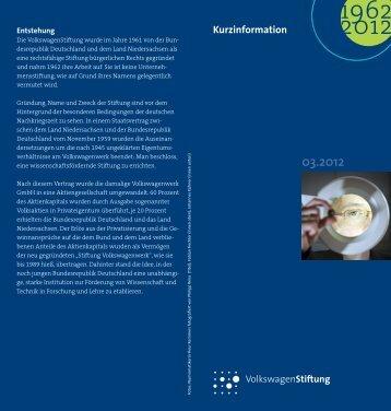 Kurzinformation - Volkswagen Stiftung