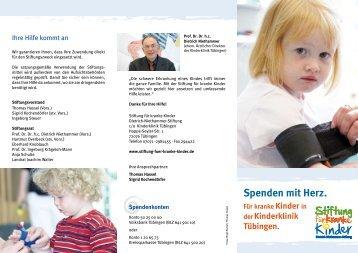 Für kranke Kinder in derKinderklinik Tübingen. Spenden mit Herz.