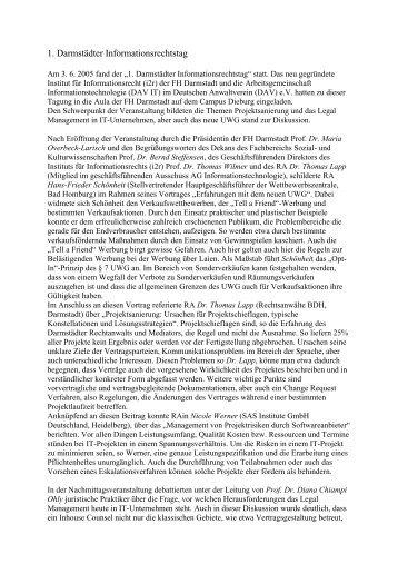 Tagungsbericht - Instituts für Informationsrecht (i2r)