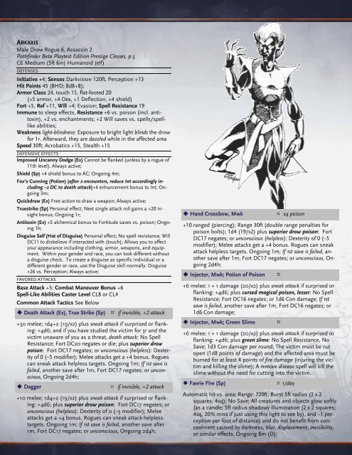 Male Drow Rogue 6, Assassin 2 Pathfinder Beta Playtest Edition