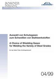 Auswahl von Schutzgasen zum Schweißen von Stahlwerkstoffen A ...