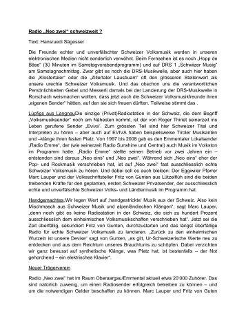 Ein Text von HR Sägesser - Arbeitsgemeinschaft Schweizer ...