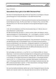 Pressemitteilung Gesundheits-Oscar geht an den MDK Rheinland ...