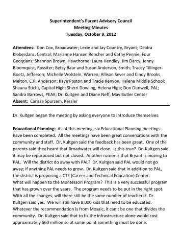 Superintendent's Parent Advisory Council Meeting Minutes Tuesday ...