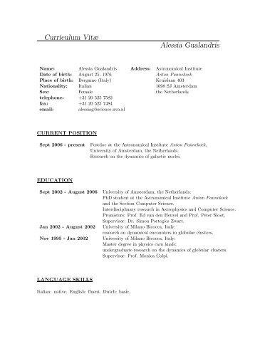 Curriculum Vitæ Alessia Gualandris