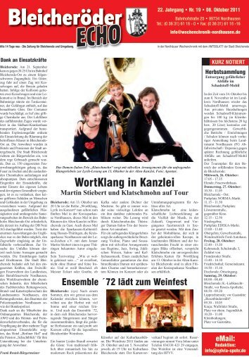 WortKlang in Kanzlei - Nordhäuser Wochenchronik