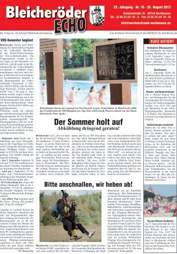 Der Sommer holt auf - Nordhäuser Wochenchronik
