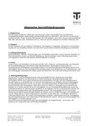 Allgemeine Geschäftsbedingungen - Titus Verlag