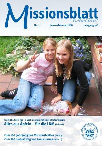 Missionsblatt 1+2 08 - Lutherische Kirchenmission Bleckmar