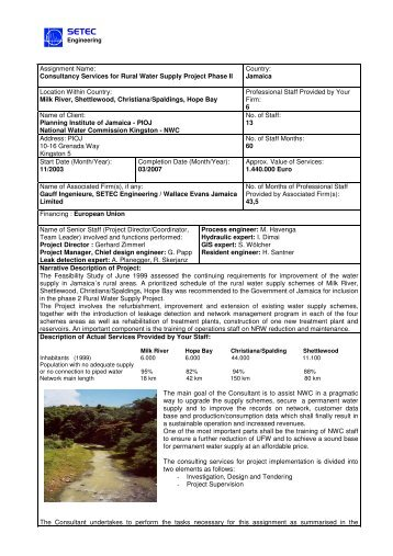 Assignment Name: Consultancy Services for Rural Water ... - Setec