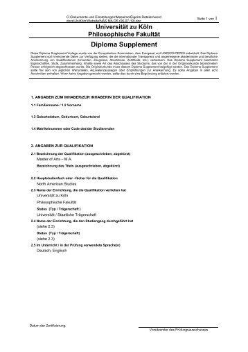 Universität zu Köln Philosophische Fakultät Diploma Supplement